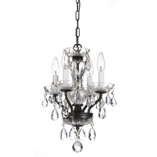 Transitional 4-light Bronze and Crystal Chandelier