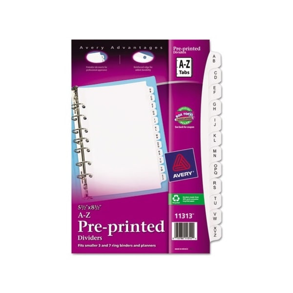 Avery White Small A-Z Preprinted Dividers (Pack of 25)
