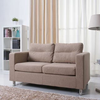 'Detroit' Camel Fabric Loveseat