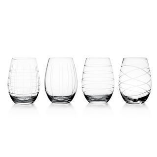 Fifth Avenue Crystal Medallion Stemless Goblets (Set of 4)