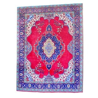 Persian Hand-knotted Tabriz Red/ Navy Wool Rug (9'7 x 12'7)