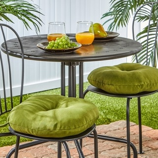 15-inch Round Outdoor Summerside Green Bistro Chair Cushions (Set of 2)