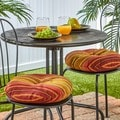 Persian Stripe 15-inch Polyester Round Outdoor Bistro Chair Cushions (Set of 2)