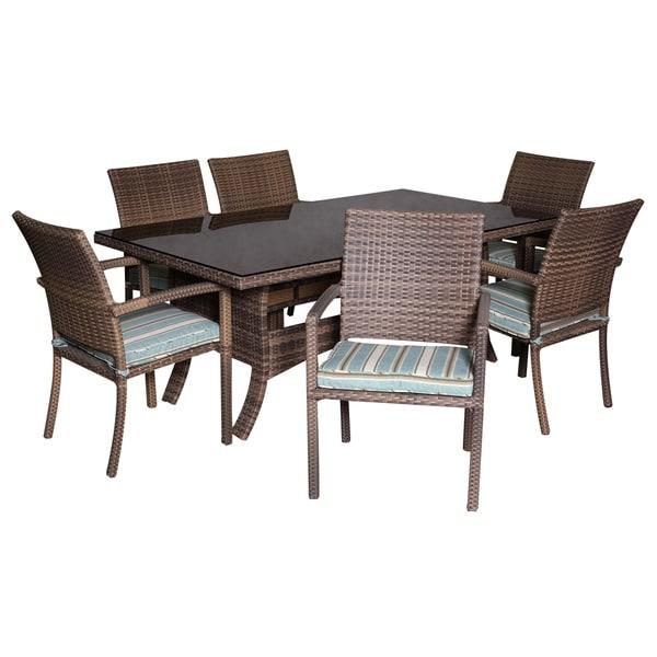 Coffee Wicker 7-piece Dining Set