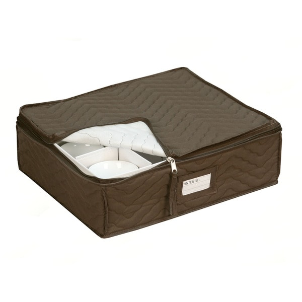 Quilted China Cup Storage in Brown 10842019