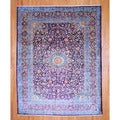 Persian Hand-knotted Mashad Purple/ Ivory Wool Rug (9'10 x 12'8)
