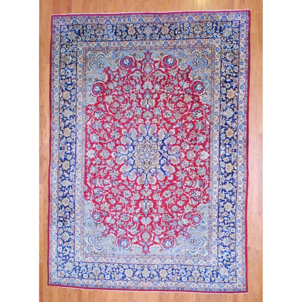 Persian Hand-knotted 1960's Isfahan Red/ Navy Wool Rug (9'7 x 13'5)