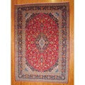 Persian Hand-knotted 1960's Kashan Red/ Navy Wool Rug (9'7 x 13'9)