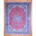 Persian Hand-knotted 1960's Isfahan Red/ Navy Wool Rug (9'11 x 12'8)