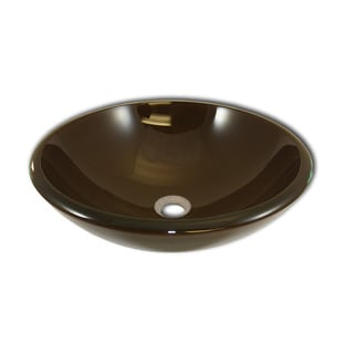 Tempered Glass Bathroom Hazelnut Brown Vessel Sink