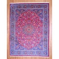 Persian Hand-knotted Mashad Red/ Navy Wool Rug (9'6 x 12'10)