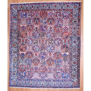 Antique Persian Hand-knotted 1920's Tribal Bakhtiari Ivory/ Blue Wool Rug (10'9 x 13')