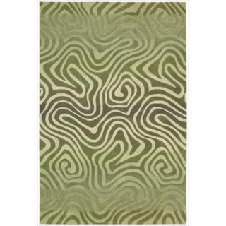 Hand-tufted Contour Abstract Zebra Print Avocado Rug (5' x 7'6)