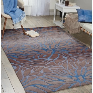 Hand-tufted Contour Abstract Lilies Ocean Sand Rug (3'6 x 5'6)