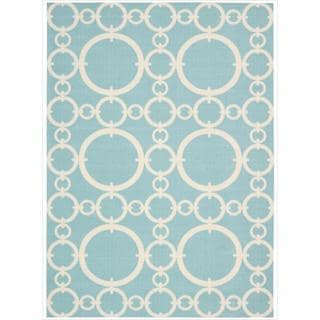 Waverly Sun N' Shade by Nourison Aquamarine Indoor/Outdoor Rug (5'3 x 7'5)