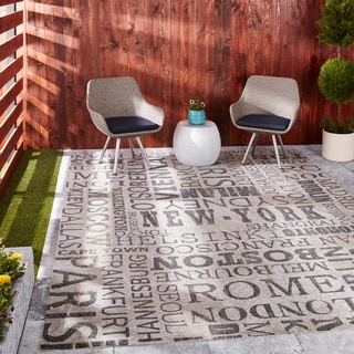 Waverly Sun N' Shade by Nourison Graphite Indoor/Outdoor Rug (7'9 x 10'10)