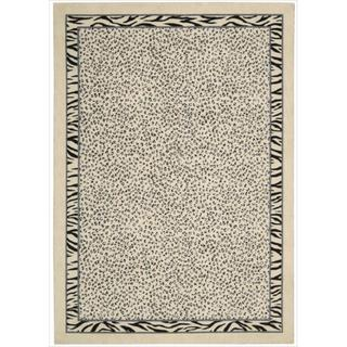 Kailash Animal Print Ivory/Black Rug (5'3 x 7'5)