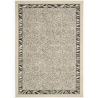 Kailash Animal Print Ivory/Black Rug (7'9 x 10'10)