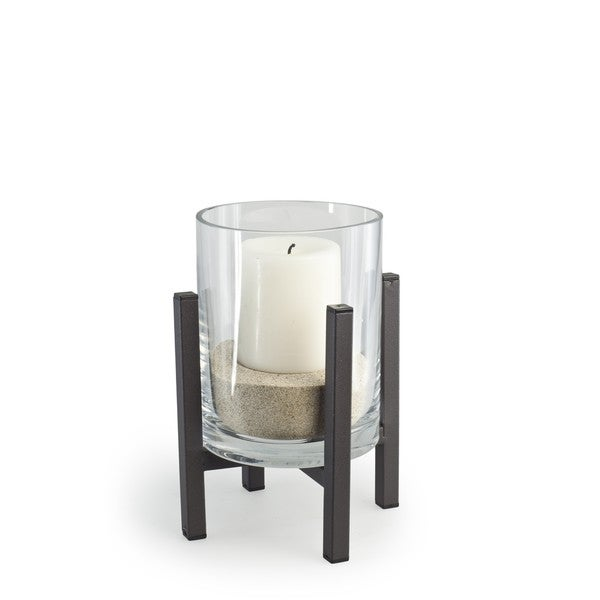 Cylinder Glass Hurricane on Metal Stand