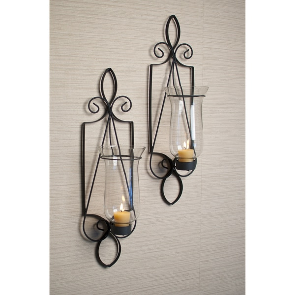 Iron And Glass Candle Wall Sconces : Wrought Iron and Glass Wall Sconce Set - 15246191 - Overstock.com Shopping - Great Deals on ...