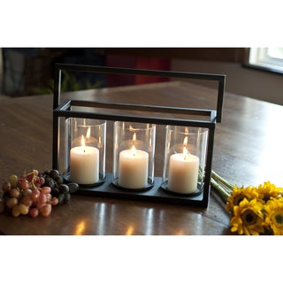 Triple Hurricane Metal Candle Holder Basket