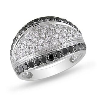 Miadora 14k White Gold 1 1/6ct TDW Black and White Diamond Ring (H-I, I1-I2)