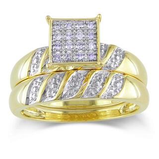 Miadora 10k Yellow Gold 1/10ct TDW Diamond Bridal Ring Set (H-I, I2-I3)