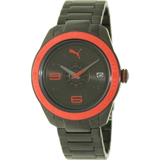 Puma Men's 'Slice' Black/ Red Stainless Steel Watch