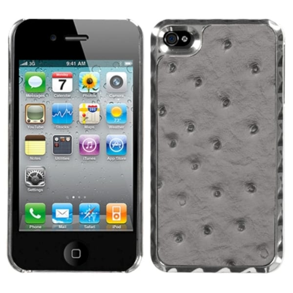 MYBAT Gray Ostrich Case for Apple iPhone 4/ 4S