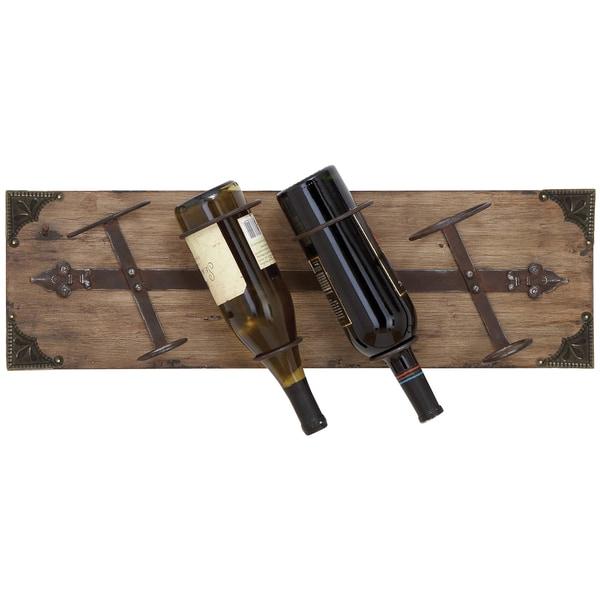 Reclaimed Wood Wall-mount 4-bottle Wine Holder