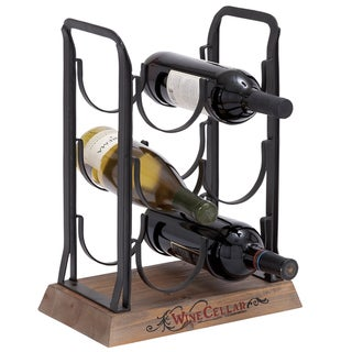 Vienne Metal and Wood 6-bottle Wine Rack