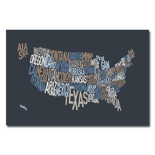 Michael Tompsett 'US States Text Map' Canvas Art