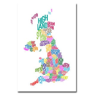 Michael Tompsett 'UK Counties Text Map' Canvas Art