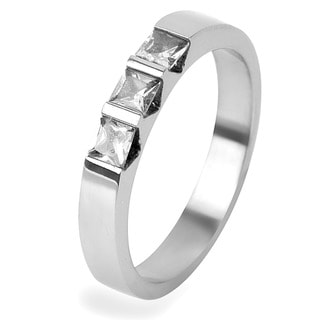 Stainless Steel Triple Square-cut Cubic Zirconia Band