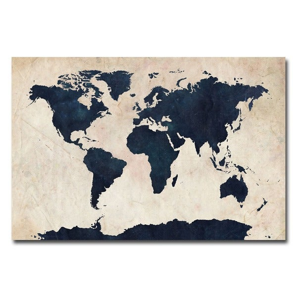 Michael Tompsett 39 World Map Navy 39 canvas art 15246442 Overstock