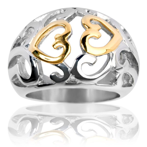 Goldplated Stainless Steel Vintage Heart Swirl Ring
