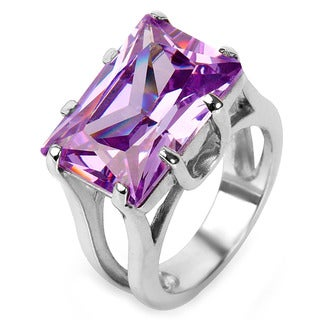 Stainless Steel Rectangular Purple Cubic Zirconia Cocktail Ring