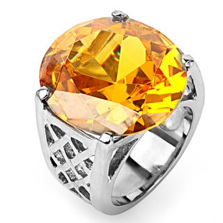 Stainless Steel Round Yellow Cubic Zirconia Cocktail Ring