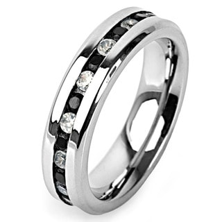 Stainless Steel Black and White Cubic Zirconia Eternity Ring