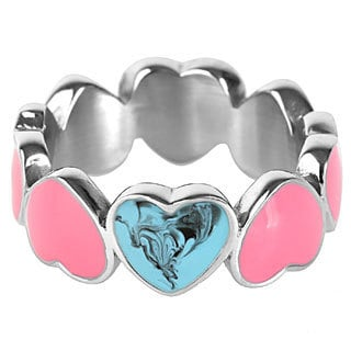 Stainless Steel Turquoise and Pink Enamel Heart Link Ring
