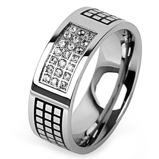 Stainless Steel Cubic Zirconia Grid Pattern Ring