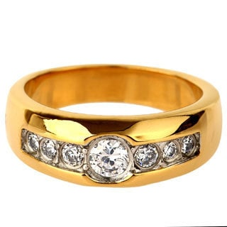 Goldplated Stainless Steel Cubic Zirconia Ring