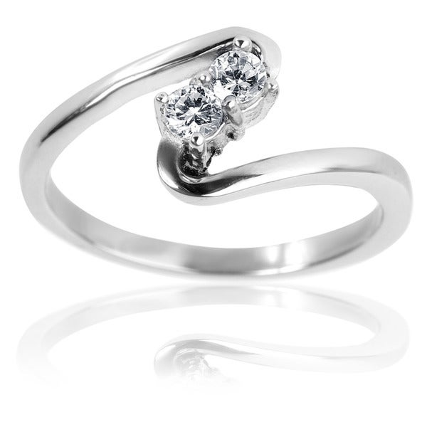 Stainless Steel Twin Cubic Zirconia Wave Ring