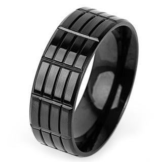 Men's Black-plated Titanium Triple Groove Band (8 mm)