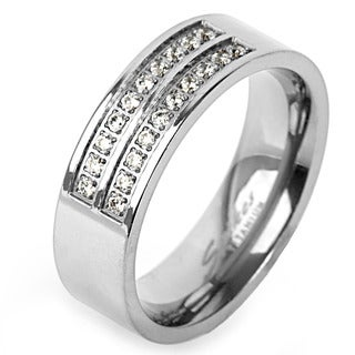Men's Titanium Cubic Zirconia Double Stripe Ring