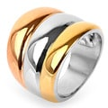Stainless Steel Rose and Yellow Goldplated Triple-band Dome Ring