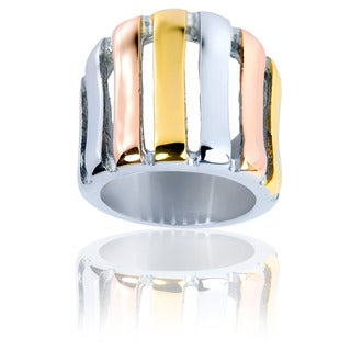 Stainless Steel Rose and Yellow Goldplated Concave Ring