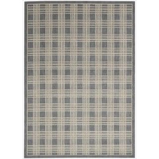 Kailash Grey Plaid Rug (5'3 x 7'5)