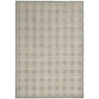 Kailash Light Grey Plaid Rug (7'9 x 10'10)