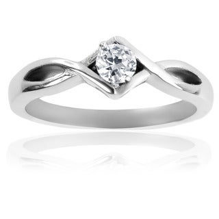 Stainless Steel Cubic Zirconia Solitaire Knotted Frame Ring